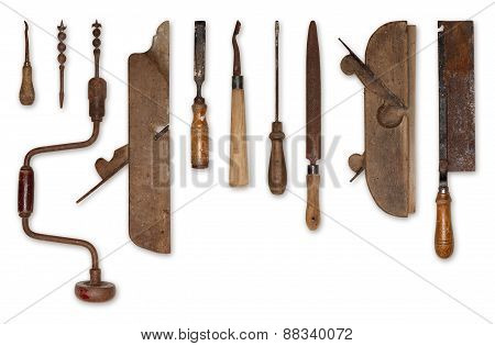 composition of old tools for wood isolated on white background