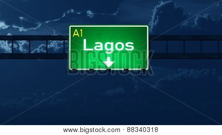Lagos Nigeria Highway Road Sign At Night