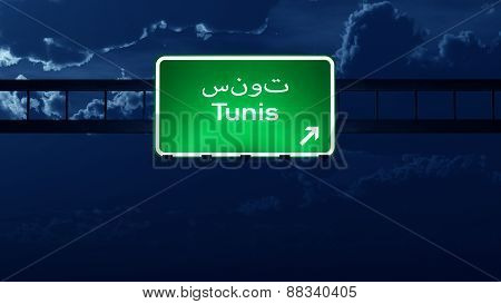 Tunis Tunisia Highway Road Sign At Night