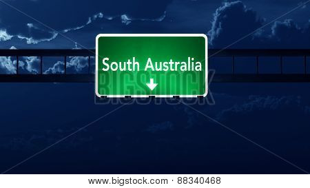 South Australia Highway Road Sign At Night