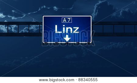 Linz Austria Highway Road Sign At Night