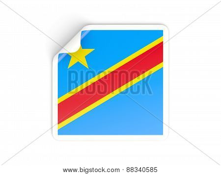 Square Sticker With Flag Of Democratic Republic Of The Congo