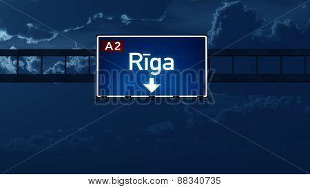 Riga Latvia Highway Road Sign At Night