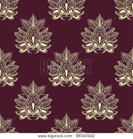 Yellow paisley floral seamless pattern