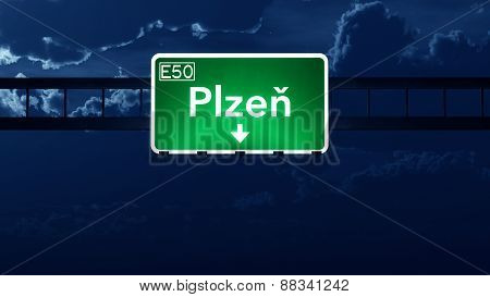 Plzen Czech Republic Highway Road Sign At Night