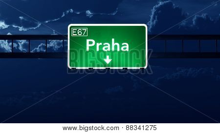 Praha Czech Republic Highway Road Sign At Night