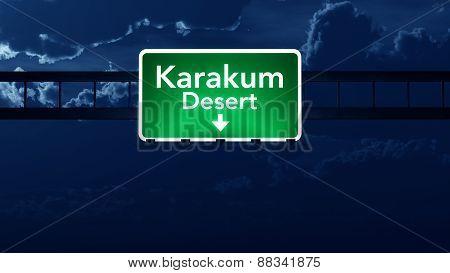 Karakum Desert Turkmenistan Desert Highway Road Sign At Night