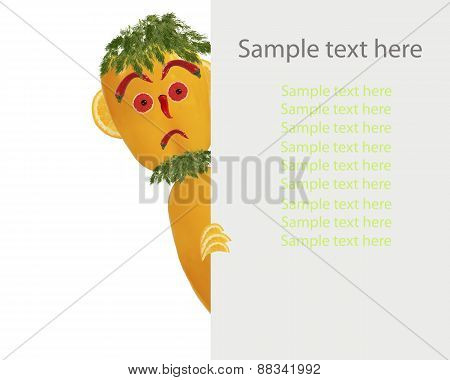 Creative Food Concept. Little Funny Pepper Looks  With Sample Text.