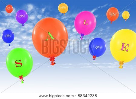 Flying Group Of Balloons, Concept Of Sale Message For Shop
