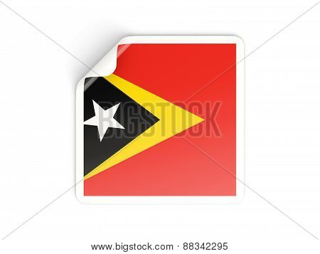 Square Sticker With Flag Of East Timor