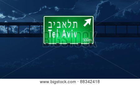 Tel Aviv Israel Highway Road Sign At Night