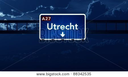 Utrecht Netherlands Highway Road Sign At Night