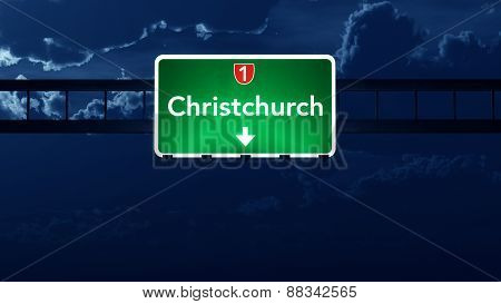Christchurch New Zealand Highway Road Sign At Night