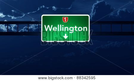 Wellington New Zealand Highway Road Sign At Night