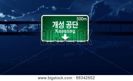 Kaesong North Korea Highway Road Sign At Night