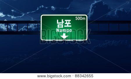 Nampo North Korea Highway Road Sign At Night