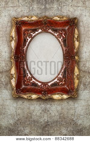 Old Picture Frame Handmade Ceramic On Wall Ruined Background