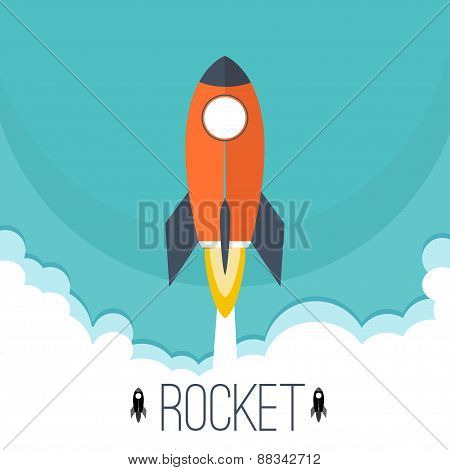 Flat Rocket Icon. Startup Concept. Space Rocket Flying In Space