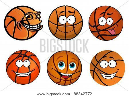 Cartoon happy traditional shaped basketball balls characters