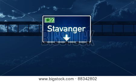 Stavanger Norway Highway Road Sign At Night