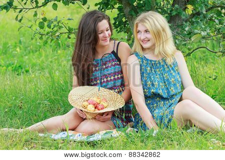Two friends conversing under apple tree in summer garden