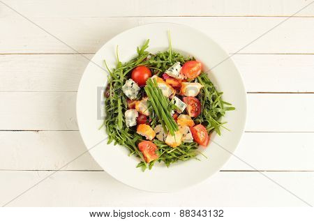 Plate with fresh salad