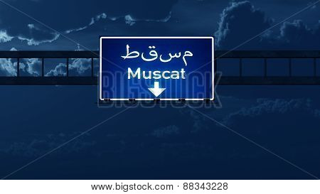Muscat Oman Highway Road Sign At Night