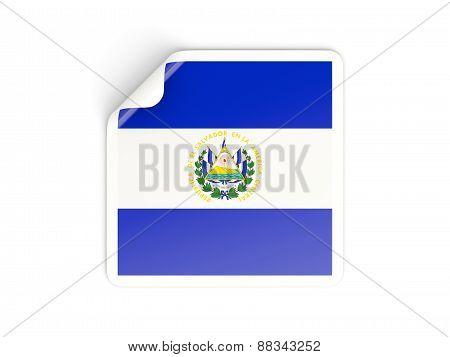 Square Sticker With Flag Of El Salvador