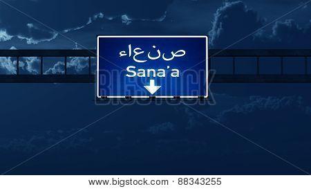 Sanaa Yemen Highway Road Sign At Night
