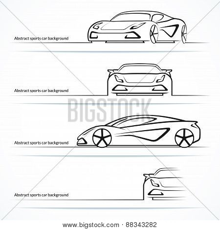 Set of four abstract sports car silhouettes.
