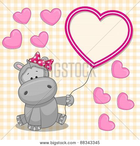 Hippo With Heart Frame