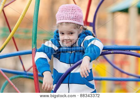 Four-year Girl Provocatively Wondered At The Playground
