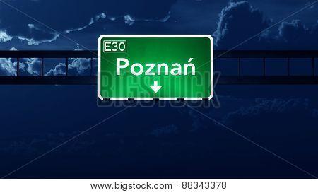 Poznan Poland Highway Road Sign At Night
