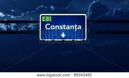 Constanta Romania Highway Road Sign At Night