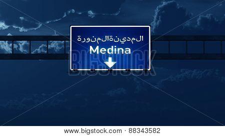 Medina Saudi Arabia Highway Road Sign At Night