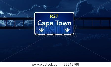 Cape Town South Africa Highway Road Sign At Night