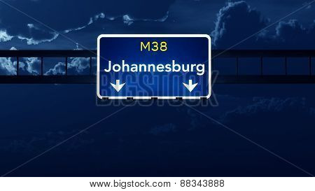 Johannesburg South Africa Highway Road Sign At Night