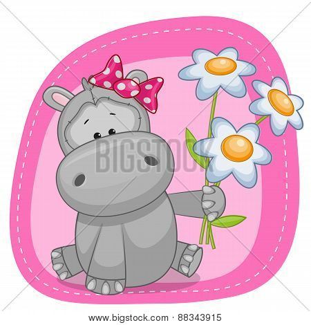 Hippo With Flowers
