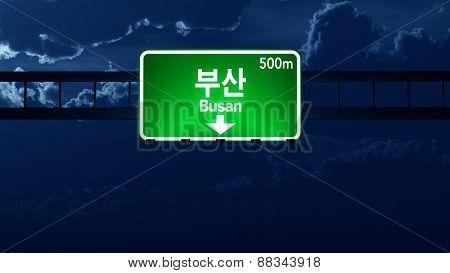 Busan South Korea Highway Road Sign At Night