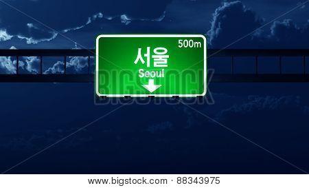Seoul South Korea Highway Road Sign At Night