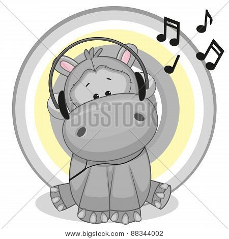 Hippo With Headphones