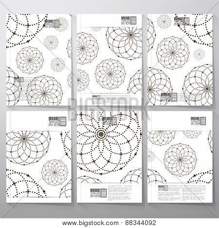 Dotted pattern with circles and nodes. Brochure, flyer or booklet for business, template vector
