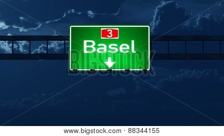 Basel Switzerland Highway Road Sign At Night