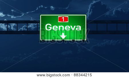 Geneva Switzerland Highway Road Sign At Night