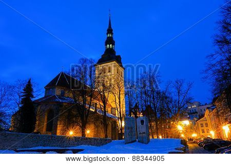TALLINN, ESTONIA - MARCH 11: St. Nicholas Church in winter evening on March 11, 2013 in Tallinn.