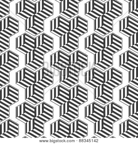 Seamless pattern with cubes. Repeating modern stylish geometric background. Simple abstract monochro