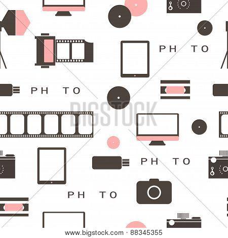 Seamless Pattern Photo Studio Logo. Hipster Style.