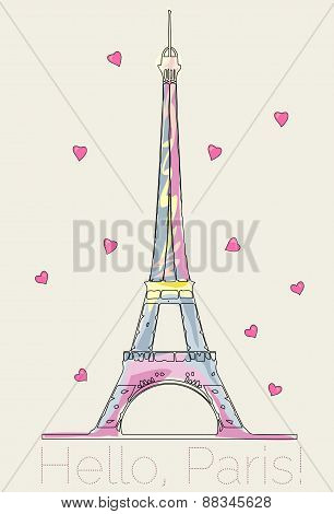 Colorful Eiffel Tower With Hearts