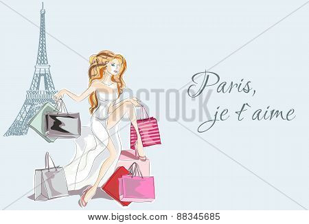 Fashion Girl In White Dress Sitting Near Eiffel Tower And Happy With Her Paris Shopping