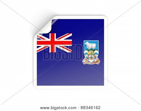 Square Sticker With Flag Of Falkland Islands